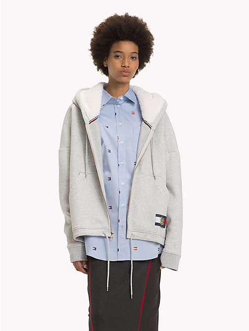 HILFIGER COLLECTION Veste à capuche à drapeau et blason - LIGHT GREY HEATHER - HILFIGER COLLECTION TOMMY NOW FEMMES - image principale