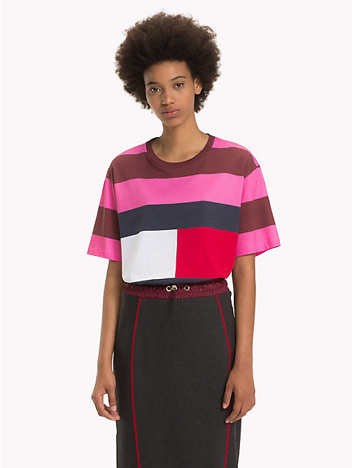 HILFIGER COLLECTION Flag Rugby Stripe T-Shirt - AZALEA PINK / MULTI - HILFIGER COLLECTION Hilfiger Collection - main image