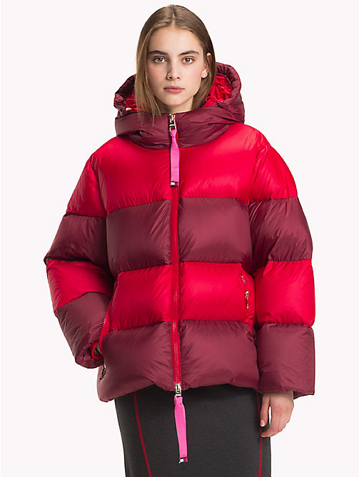 HILFIGER COLLECTION Stripe Padded Coat - TRUE RED / MULTI - HILFIGER COLLECTION TOMMY NOW WOMEN - main image