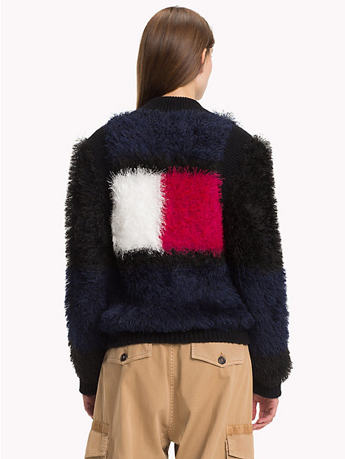 HILFIGER COLLECTION Fluffy Flag Bomber Jacket - DEEP WELL / MULTI - HILFIGER COLLECTION Sweatshirts & Knitwear - detail image 1