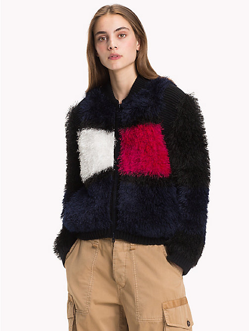 HILFIGER COLLECTION Fluffy bomberjack met vlag - DEEP WELL / MULTI - HILFIGER COLLECTION Hilfiger Collection - main image