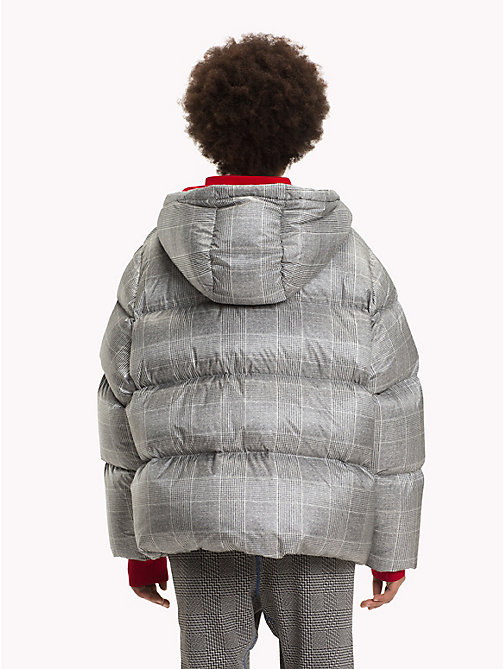HILFIGER COLLECTION Checked Hooded Down Coat - METEORITE / MULTI - HILFIGER COLLECTION TOMMY NOW WOMEN - detail image 1
