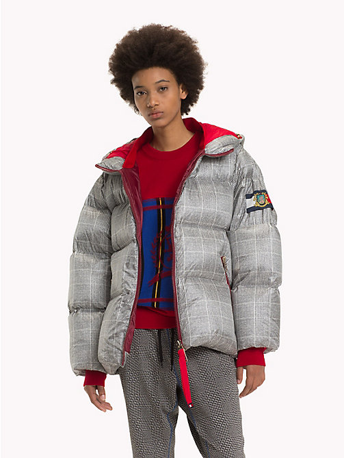 HILFIGER COLLECTION Checked Hooded Down Coat - METEORITE / MULTI - HILFIGER COLLECTION TOMMY NOW WOMEN - main image