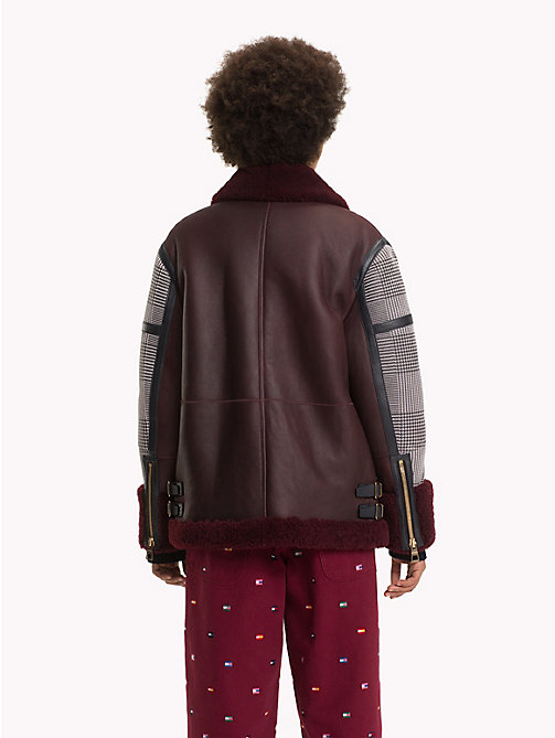 HILFIGER COLLECTION Checked Shearling Aviator Jacket - CABERNET / MULTI - HILFIGER COLLECTION TOMMY NOW WOMEN - detail image 1