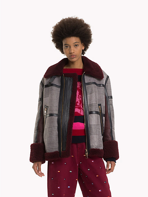 HILFIGER COLLECTION Checked Shearling Aviator Jacket - CABERNET / MULTI - HILFIGER COLLECTION TOMMY NOW WOMEN - main image