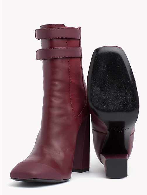 HILFIGER COLLECTION Leather Ankle Boot - CABERNET - HILFIGER COLLECTION TOMMY NOW WOMEN - detail image 1