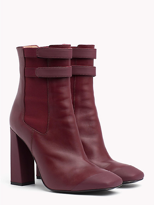 HILFIGER COLLECTION Leather Ankle Boot - CABERNET - HILFIGER COLLECTION TOMMY NOW WOMEN - main image