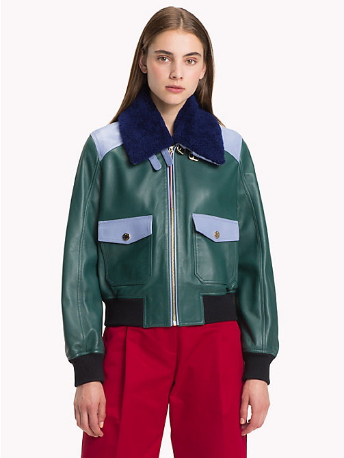 HILFIGER COLLECTION Blouson aviateur colour-block - BAYBERRY / MULTI - HILFIGER COLLECTION TOMMY NOW FEMMES - image principale
