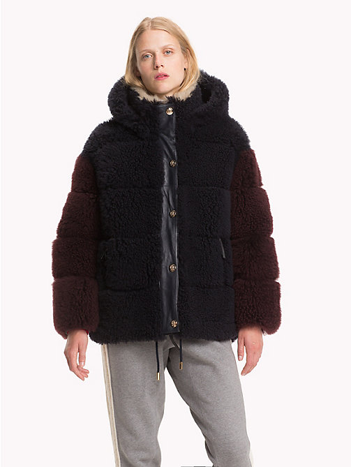 HILFIGER COLLECTION Shearling Leather Puffer Jacket - DEEP WELL / MULTI - HILFIGER COLLECTION Hilfiger Collection - main image