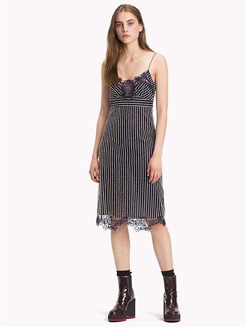 HILFIGER COLLECTION Pinstripe Lace Dress - PEACOAT MULTI - HILFIGER COLLECTION Hilfiger Collection - main image