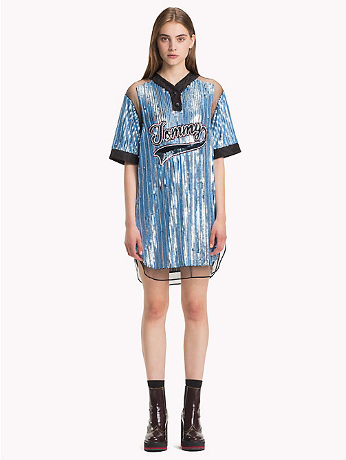HILFIGER COLLECTION Sequin Baseball Dress - FOREVER BLUE / MULTI - HILFIGER COLLECTION Hilfiger Collection - main image