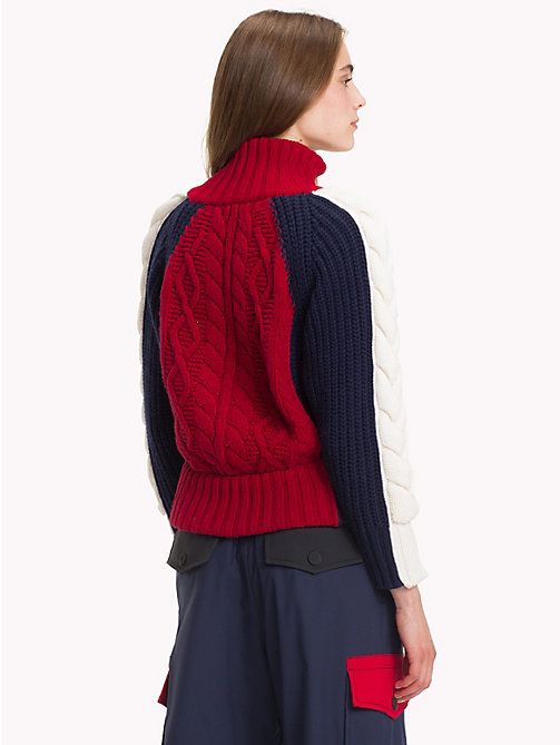 HILFIGER COLLECTION High Neck Zip Jumper - CABERNET / MULTI - HILFIGER COLLECTION TOMMY NOW WOMEN - detail image 1