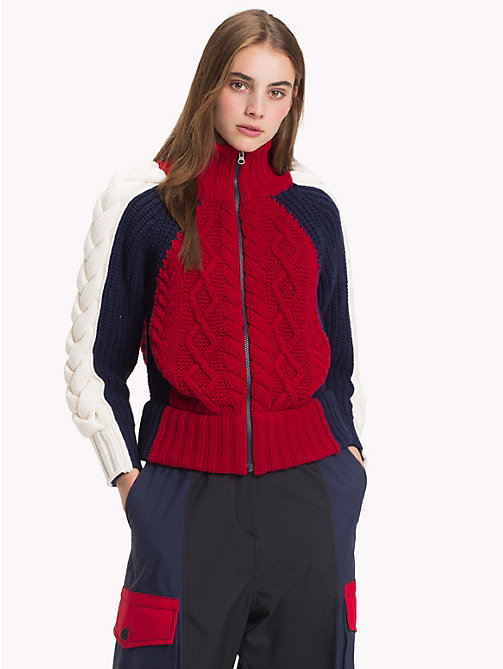 HILFIGER COLLECTION High Neck Zip Jumper - CABERNET / MULTI - HILFIGER COLLECTION TOMMY NOW WOMEN - main image