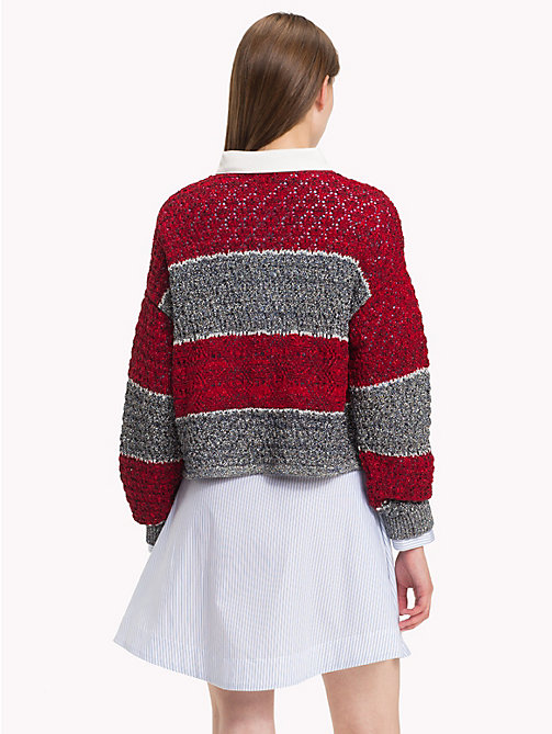 HILFIGER COLLECTION Cropped Fit Polopullover - CABERNET / MULTI - HILFIGER COLLECTION TOMMY NOW DAMEN - main image 1