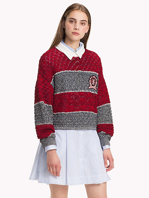 HILFIGER COLLECTION Cropped trui met embleem en polokraag - CABERNET / MULTI - HILFIGER COLLECTION TOMMY NOW DAMES - main image