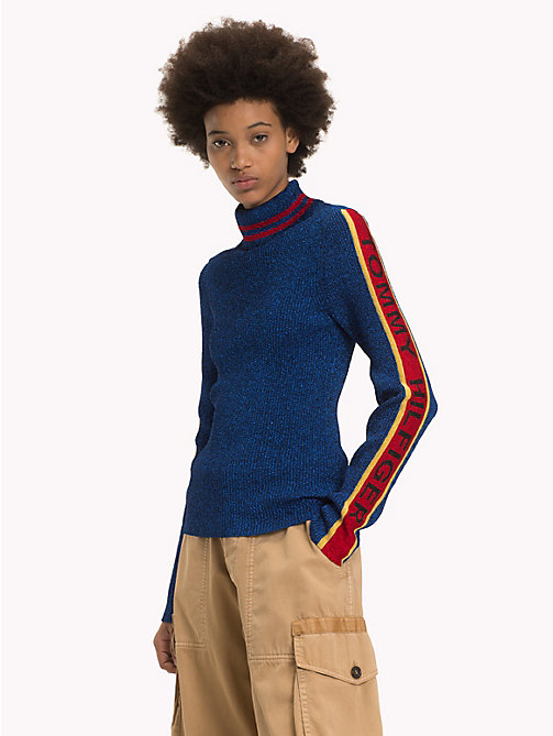HILFIGER COLLECTION Logo Sleeve Turtleneck Jumper - MAZARINE BLUE - HILFIGER COLLECTION TOMMY NOW WOMEN - main image