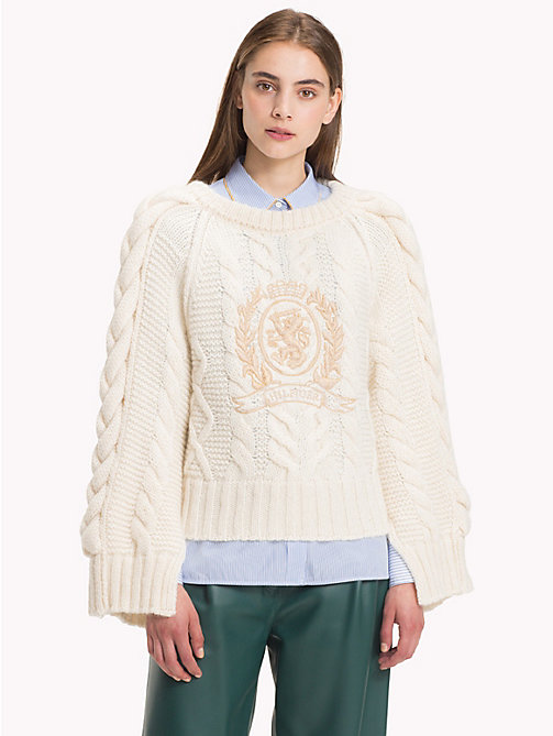 HILFIGER COLLECTION Chunky Knit Crest Jumper - SNOW WHITE - HILFIGER COLLECTION Clothing - main image