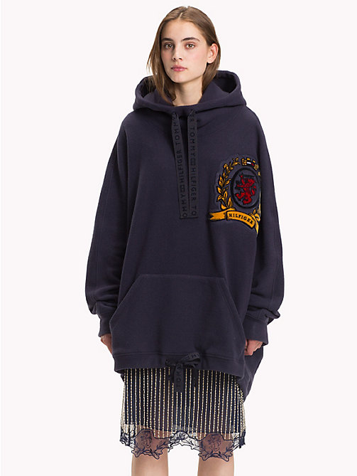 HILFIGER COLLECTION Winter Fleece Crest Hoody - DEEP WELL - HILFIGER COLLECTION Hilfiger Collection - main image