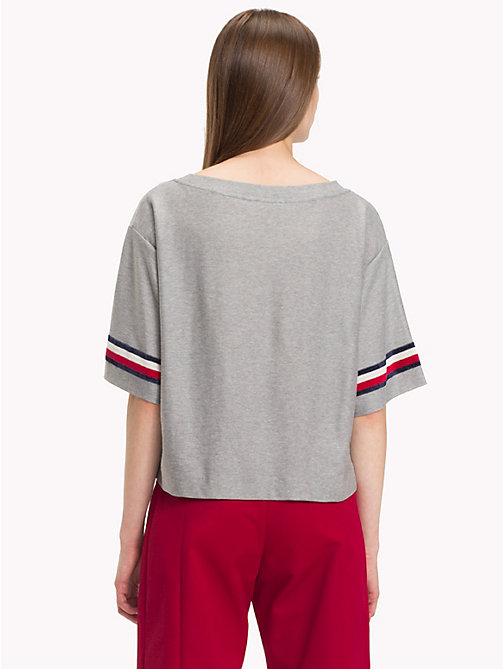 HILFIGER COLLECTION T-shirt jacquard à blason - LIGHT GREY HEATHER - HILFIGER COLLECTION TOMMY NOW FEMMES - image détaillée 1