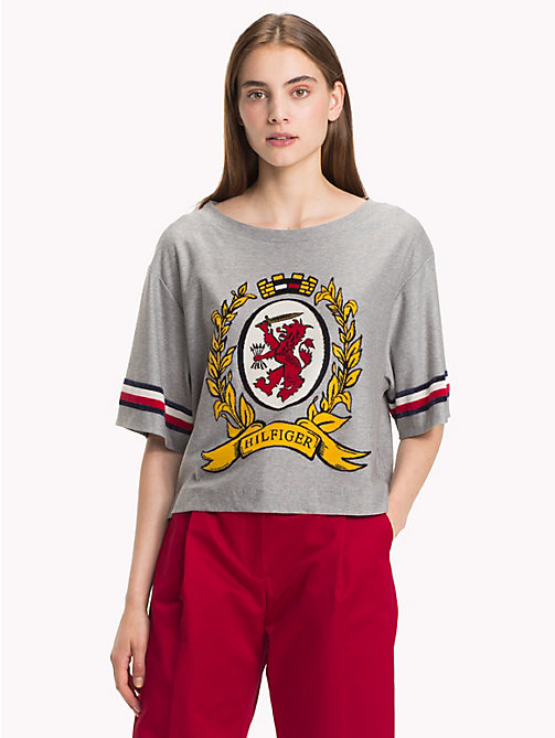 HILFIGER COLLECTION T-shirt jacquard à blason - LIGHT GREY HEATHER - HILFIGER COLLECTION TOMMY NOW FEMMES - image principale