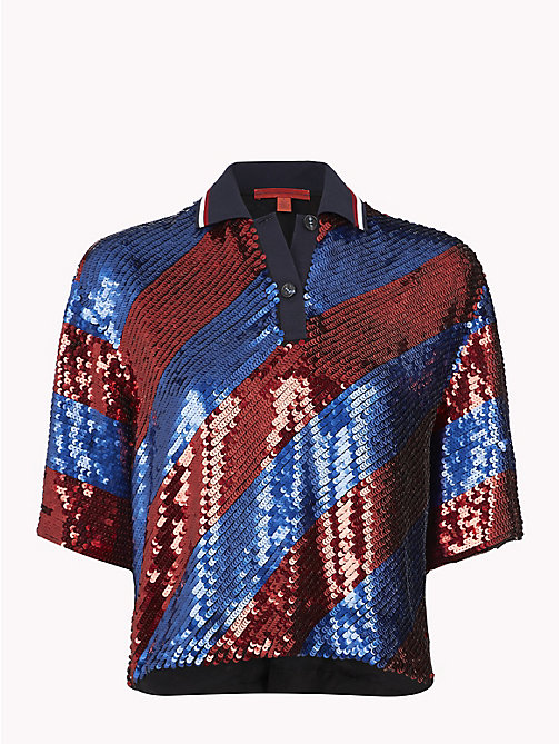 HILFIGER COLLECTION Sequin Striped Polo Shirt - RIO RED / MULTI - HILFIGER COLLECTION TOMMY NOW WOMEN - main image