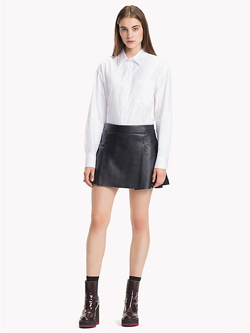 HILFIGER COLLECTION Pleated Leather Mini Skirt - DEEP WELL - HILFIGER COLLECTION TOMMY NOW WOMEN - main image