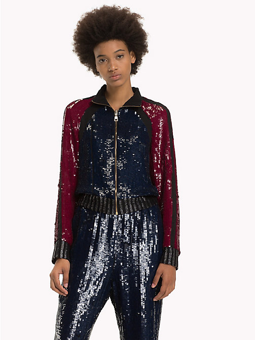 HILFIGER COLLECTION Sequinned Track Jacket - RIO RED / MULTI - HILFIGER COLLECTION TOMMY NOW WOMEN - main image