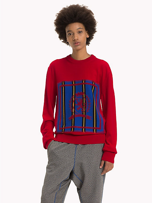 HILFIGER COLLECTION Stripe Crest Jumper - BARBADOS CHERRY - HILFIGER COLLECTION TOMMY NOW WOMEN - main image