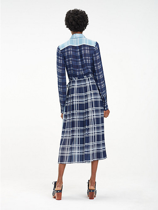 HILFIGER COLLECTION Pleated Silk Check Dress - MEDIEVAL BLUE / MULTI - HILFIGER COLLECTION Shirt Dresses - detail image 1