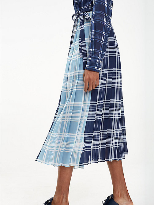 HILFIGER COLLECTION Pleated Silk Check Dress - MEDIEVAL BLUE / MULTI - HILFIGER COLLECTION Shirt Dresses - main image