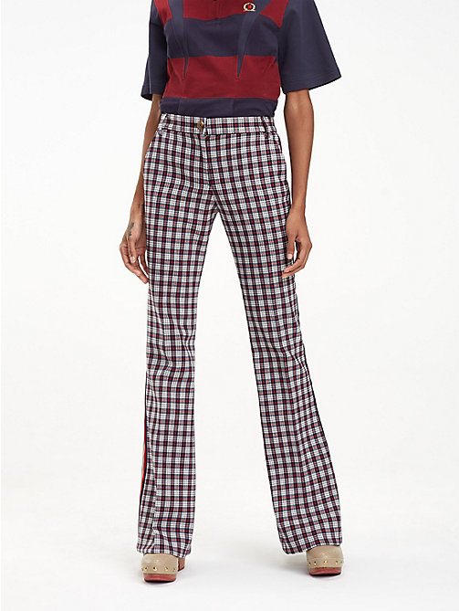 HILFIGER COLLECTION Check Flared Trousers - SNOW WHITE MULTI - HILFIGER COLLECTION Hilfiger Collection - main image