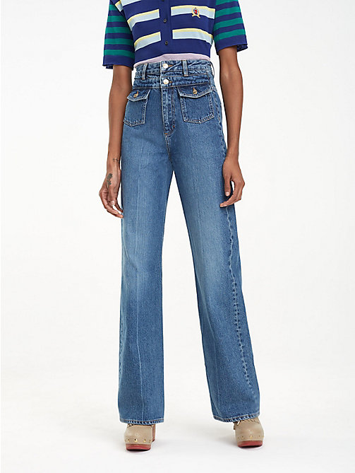 HILFIGER COLLECTION Crest Logo Wide Leg Jeans - WASHED DENIM - HILFIGER COLLECTION Hilfiger Collection - main image