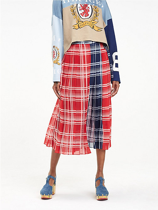 HILFIGER COLLECTION Pleated Wrap Skirt - TRUE RED/MULTI - HILFIGER COLLECTION Hilfiger Collection - main image