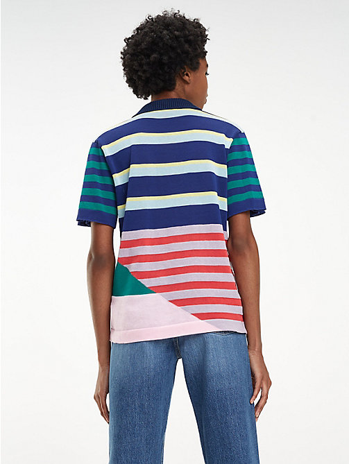HILFIGER COLLECTION Stripe Knitted Polo Shirt - MEDIEVAL BLUE / MULTI - HILFIGER COLLECTION Hilfiger Collection - detail image 1