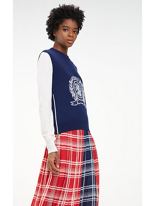 HILFIGER COLLECTION Jersey de lana y cachemira con escudo - DEEP WELL / MULTI - HILFIGER COLLECTION Hilfiger Collection - imagen principal