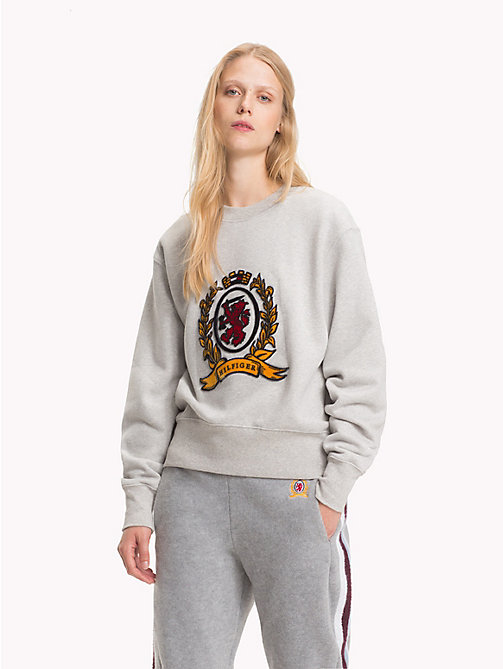 HILFIGER COLLECTION Crest Sweatshirt - LIGHT GREY HEATHER - HILFIGER COLLECTION TOMMY NOW WOMEN - main image