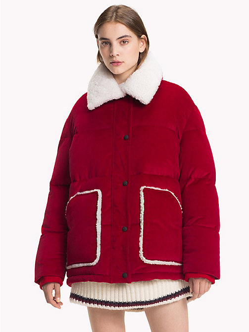 HILFIGER COLLECTION Stretch Corduroy Puffer Jacket - BARBADOS CHERRY - HILFIGER COLLECTION Hilfiger Collection - main image