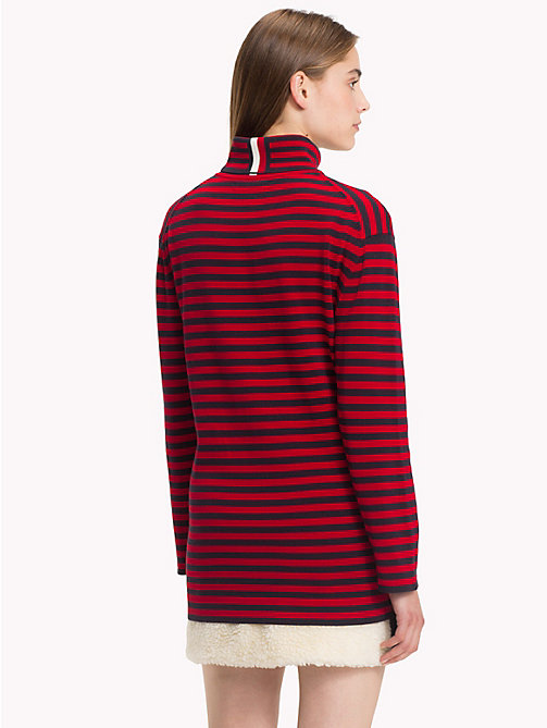 HILFIGER COLLECTION Stripe Turtleneck Jumper - BARBADOS CHERRY - HILFIGER COLLECTION TOMMY NOW WOMEN - detail image 1