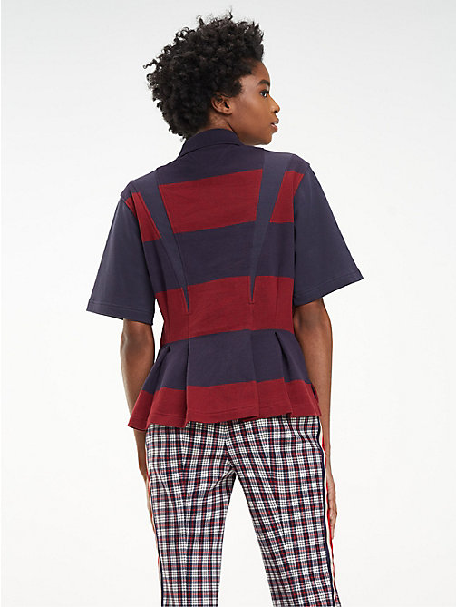 HILFIGER COLLECTION Cotton Flare Polo - DEEP WELL / MULTI - HILFIGER COLLECTION Hilfiger Collection - detail image 1