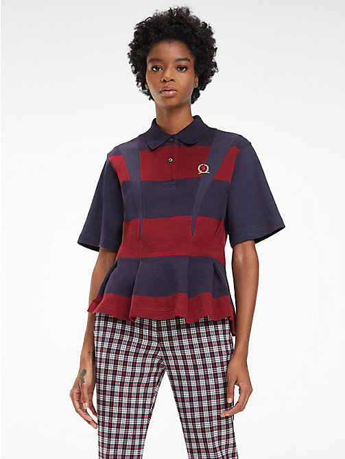 HILFIGER COLLECTION Polo évasé en coton - DEEP WELL / MULTI - HILFIGER COLLECTION Hilfiger Collection - image principale