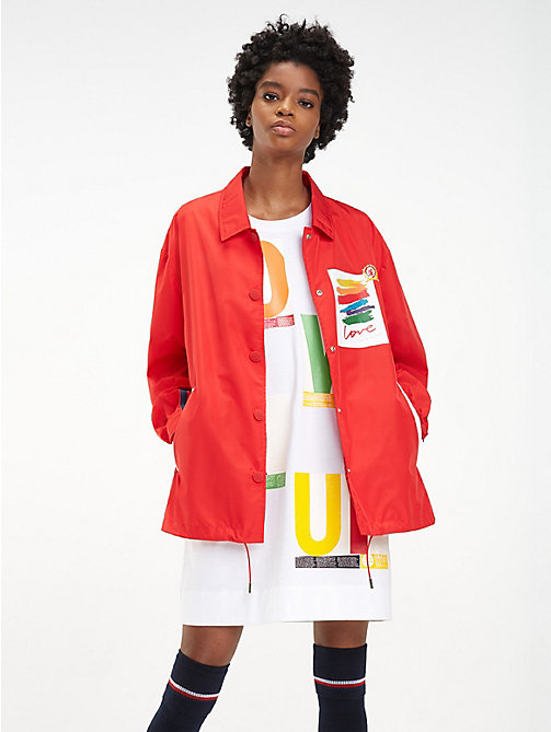 HILFIGER COLLECTION Verstaubare Regenjacke mit Slogans - TRUE RED - HILFIGER COLLECTION Hilfiger Collection - main image