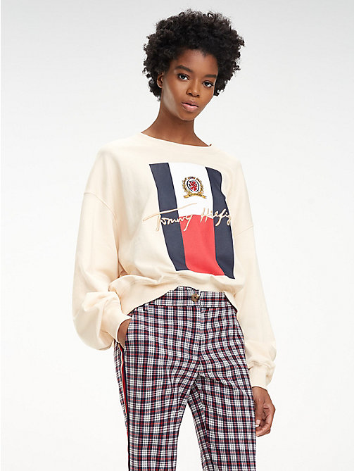 HILFIGER COLLECTION Sweat en coton à logo universitaire - NAVAJO - HILFIGER COLLECTION Hilfiger Collection - image principale