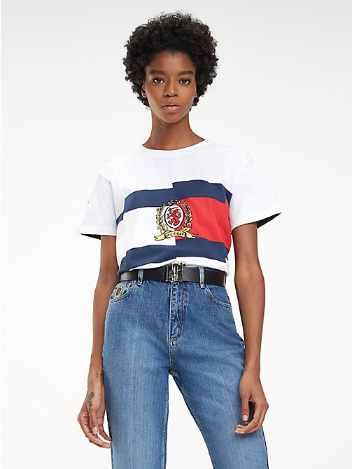 HILFIGER COLLECTION T-shirt en pur coton à faux raccord - CLASSIC WHITE / MULTI - HILFIGER COLLECTION Hilfiger Collection - image principale
