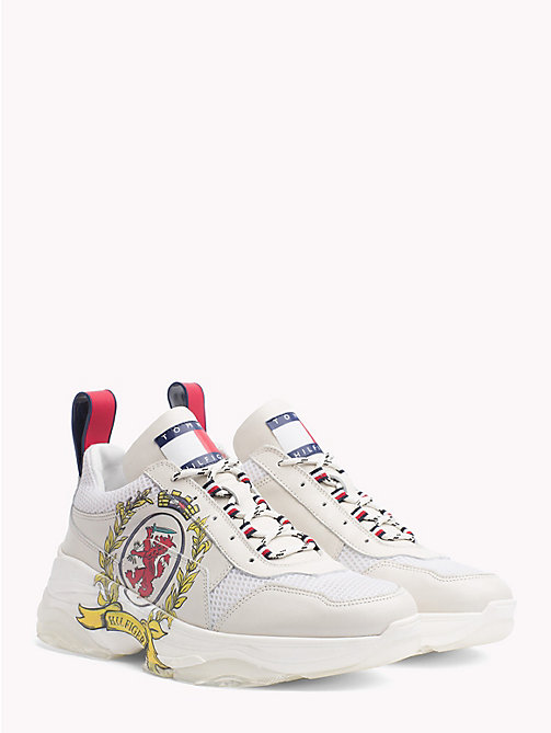 HILFIGER COLLECTION Crest Leather Trainers - EGRET - HILFIGER COLLECTION Hilfiger Collection - main image