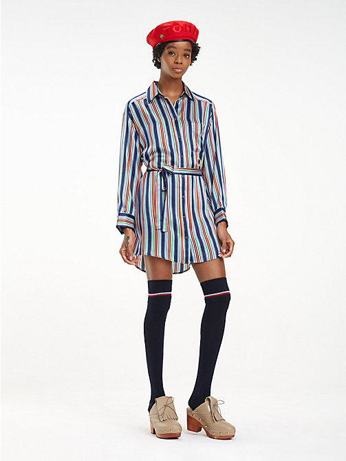 HILFIGER COLLECTION Silk Boyfriend Shirt Dress - DEEP WELL / MULTI - HILFIGER COLLECTION Shirt Dresses - main image