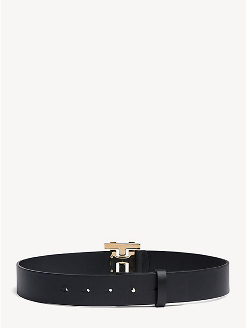 HILFIGER COLLECTION Leather Monogram Buckle Belt - JET BLACK - HILFIGER COLLECTION Hilfiger Collection - detail image 1
