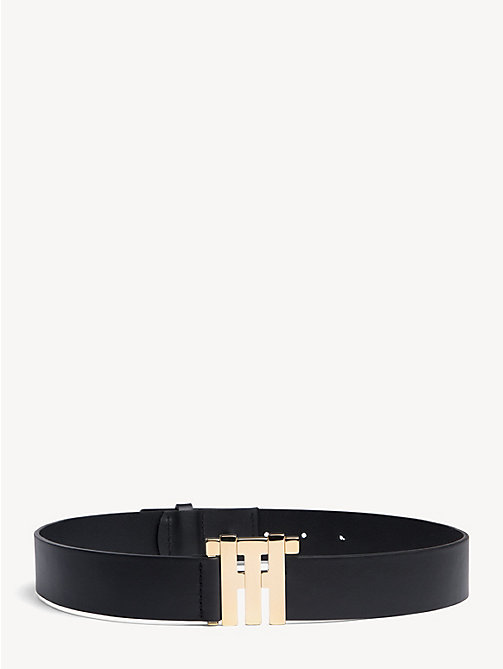 HILFIGER COLLECTION Leather Monogram Buckle Belt - JET BLACK - HILFIGER COLLECTION Hilfiger Collection - main image