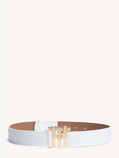 HILFIGER COLLECTION Leather Monogram Buckle Belt - BRIGHT WHITE - HILFIGER COLLECTION Hilfiger Collection - main image
