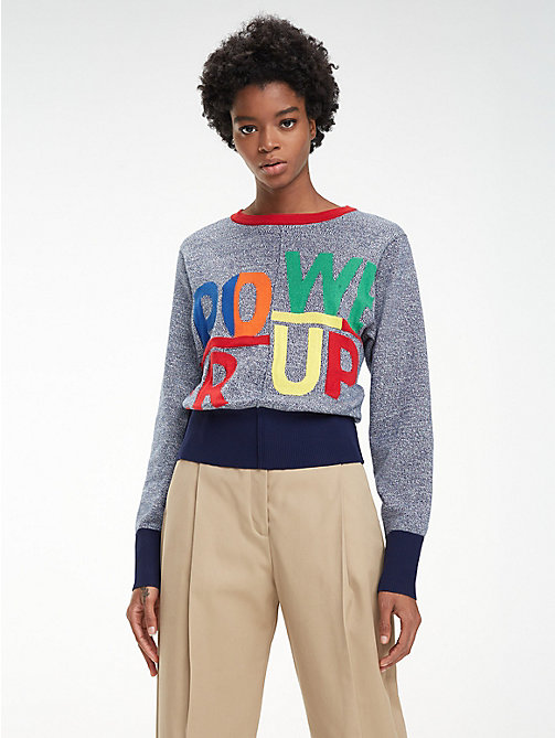 HILFIGER COLLECTION Baumwoll-Pullover mit Slogan - DEEP WELL - HILFIGER COLLECTION Hilfiger Collection - main image