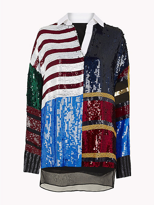 HILFIGER COLLECTION Sequinned Rugby Stripe Dress - PEACOAT / MULTI - HILFIGER COLLECTION TOMMY NOW WOMEN - main image